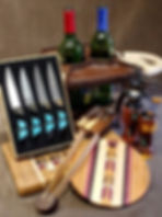 Wood cutting boards, steak knives & wine caddy
