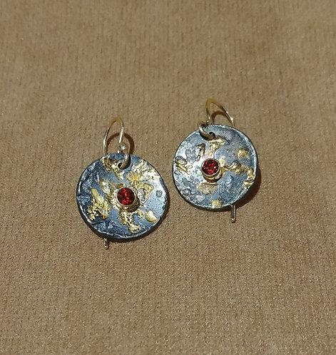 Oxidized Sterling & 14kt Gold with Garnet Earrings
