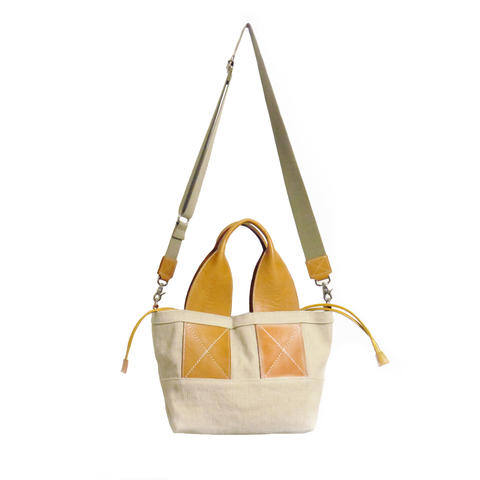 Sunny Linen 2way tote -Almond-