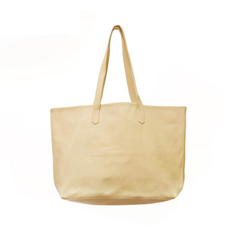 Soft Leather Big tote - Natural -