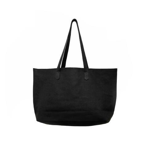 Soft Leather Big tote - Black -