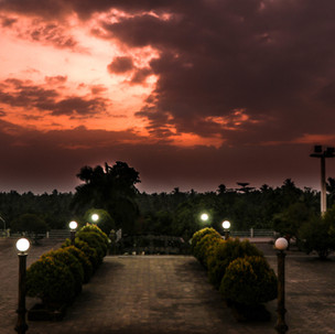 Red sky over a Buddhist temple.