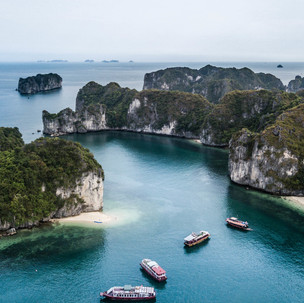 Bird eye view to the cliffs of Halong Bay.