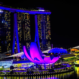 Colorful Marina Bay Sands by night.