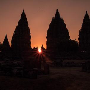 Sunset at prambanan temple.