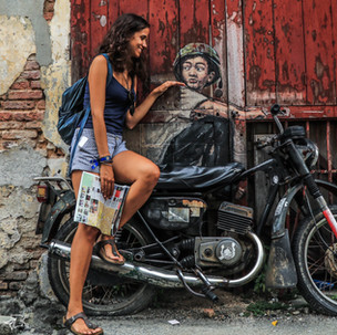 Penang urban art. Old Motorcycle.