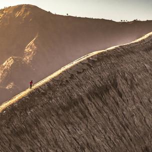 Walking around Bromo crater.