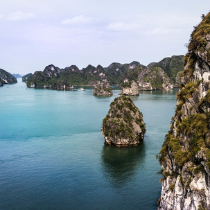 Peeking to the cliffs of Halong Bay.