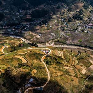 Sky view to Sapa rice fields.