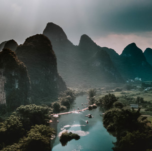 Endless view of karst mountains.