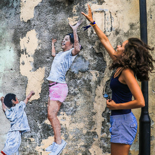 Penang urban art. Children Playing Basketball.