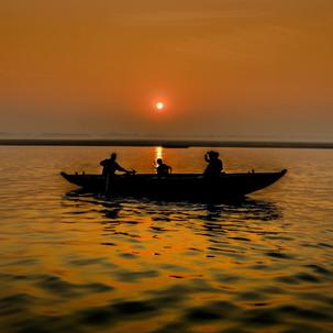 Mesmerizing sunrise at Ganges river.