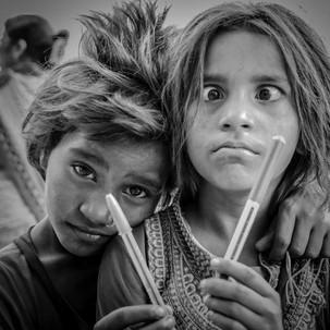 Kids in the streets of Varanasi.