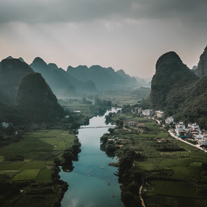 River and mountains.