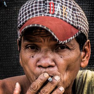 Local man smoking.