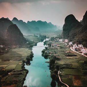 Karst mountains and Yulong river.