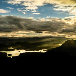 Sunrise lake reflex from Adam's Peak view.