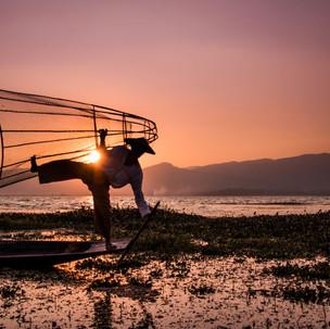 Traditional fisherman in Inle Lake.