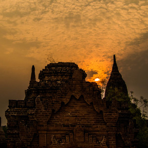 Cloudy sunset over Bagan's Temples.