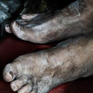 Human feet. Working life.