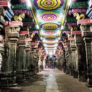 In the corridors of Meenakshi Amman Temple.
