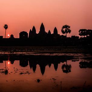 Red and purplish sunrise at Angkor Wat.