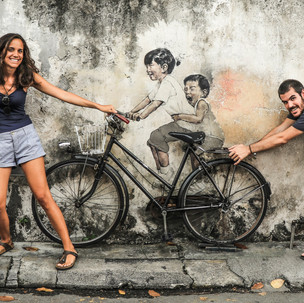 Penang urban art. Kids on Bicycle.