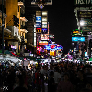 The busy Khao San Road by night.