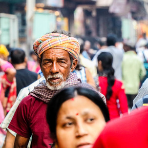 People and colours in the main street of Varanasi.