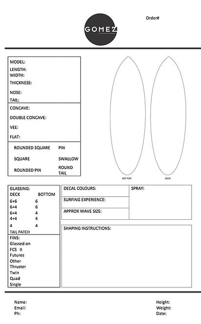 Custom Surfboards Noosa Australia France Gomez Surfboards - Custom order form template