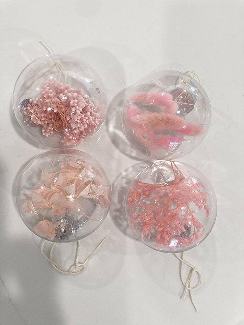 Set A - Pink Dried Flower Baubles Set of 4  - 8cm baubles