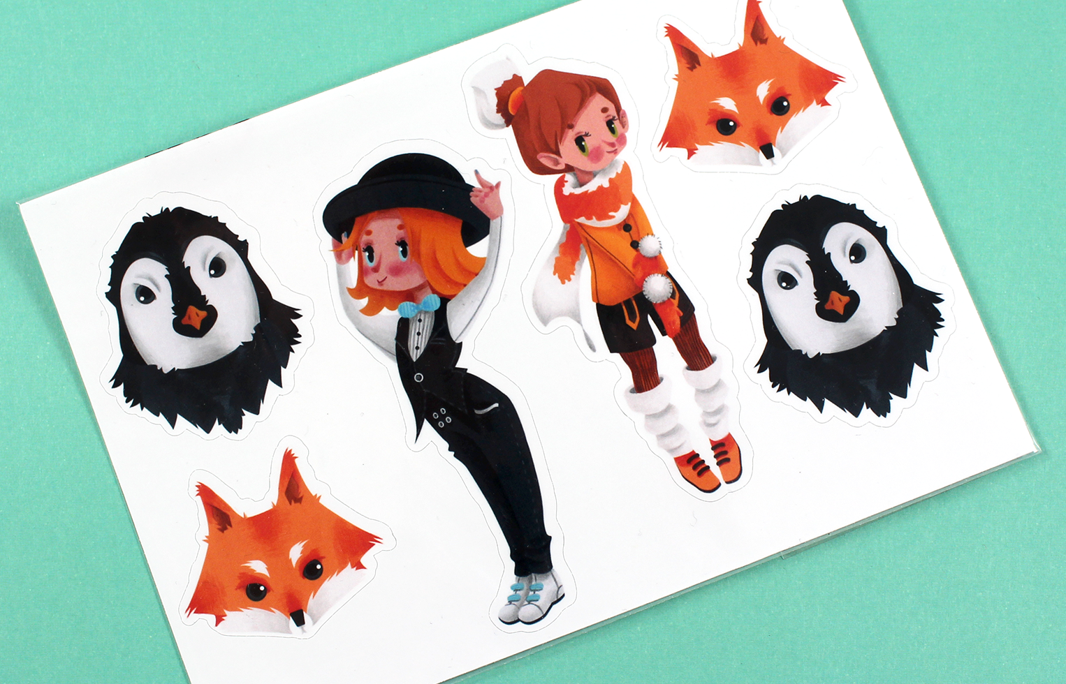 Sticker Sheet Fox and Penguin