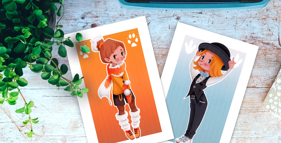 Postcards Fox and Penguin