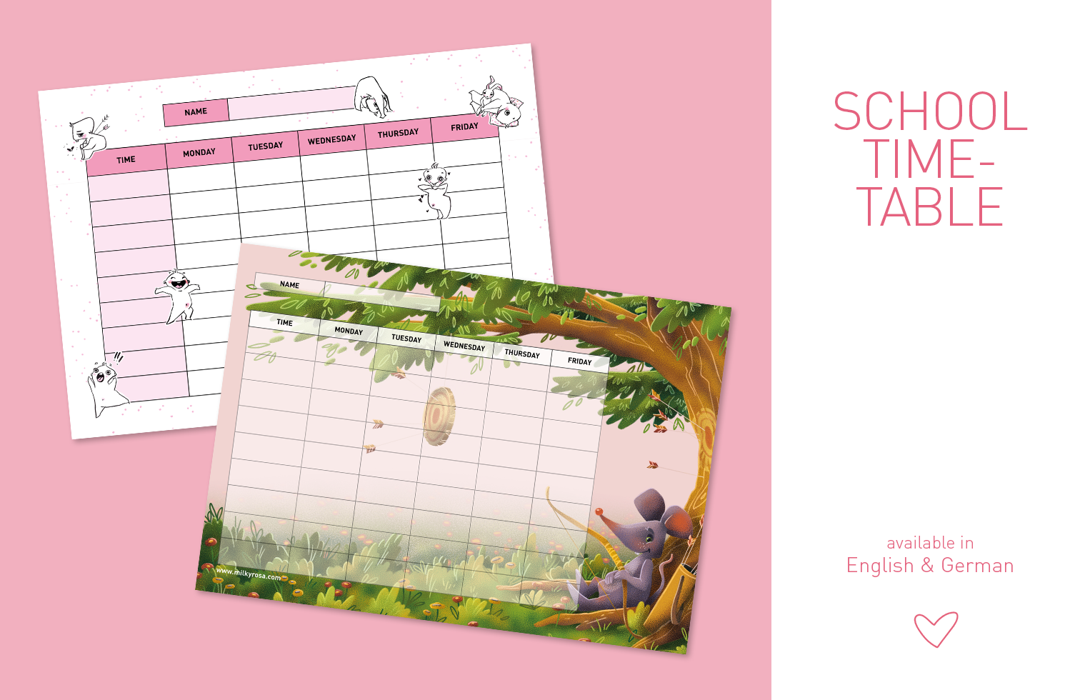 School Timetable - Cute Guy - Mouse Warr