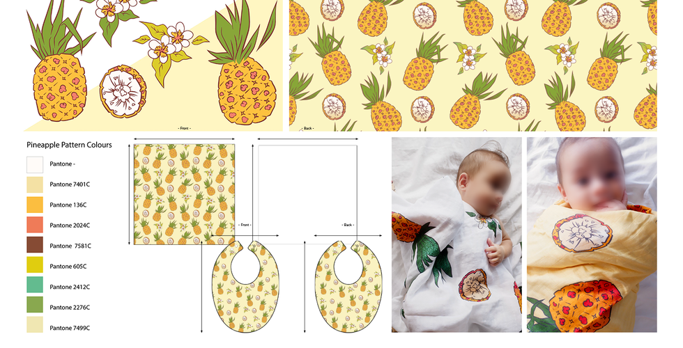 Baby Swaddle and Bib Pineapple