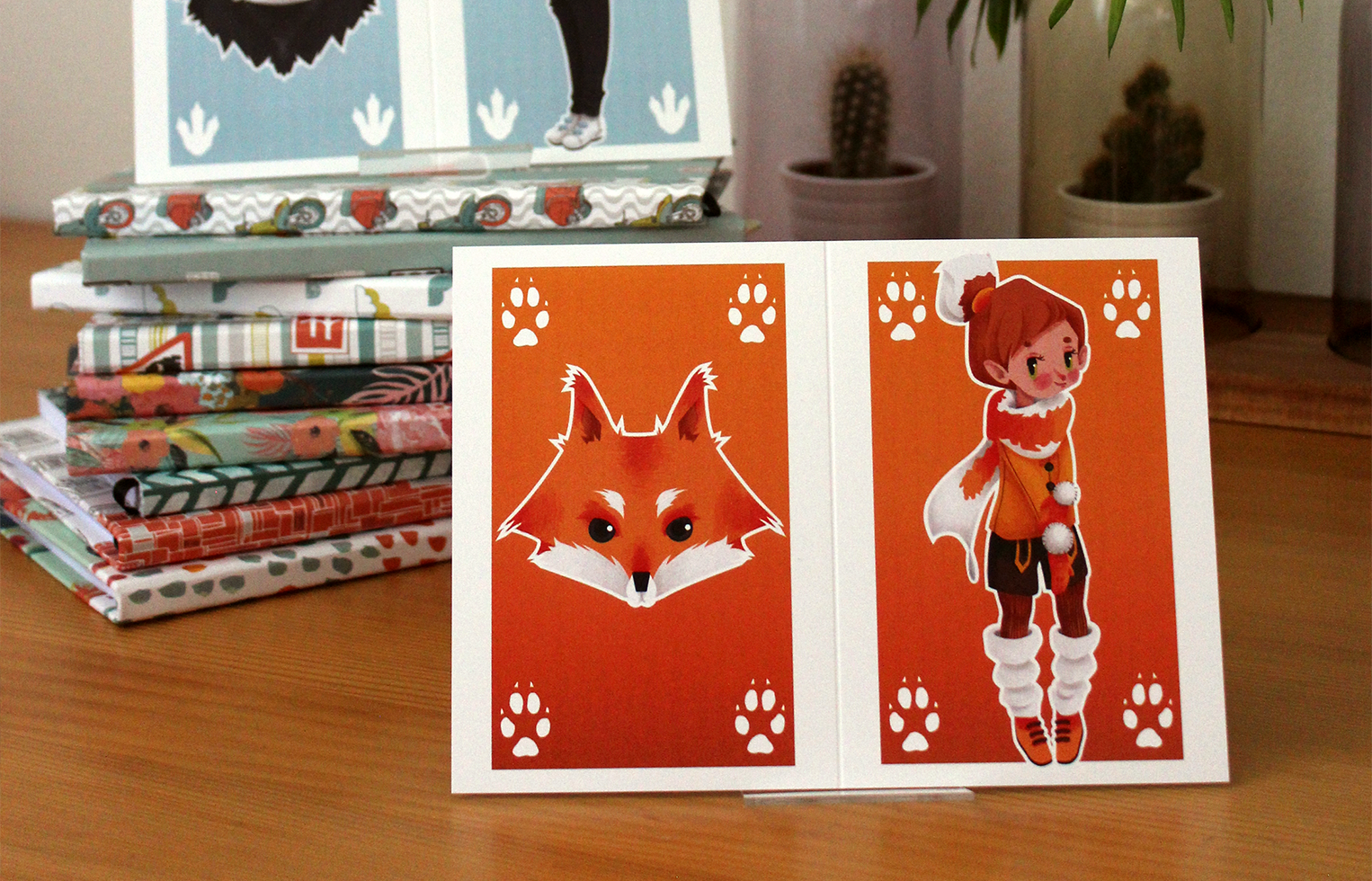 Greeting Cards Fox and Penguin