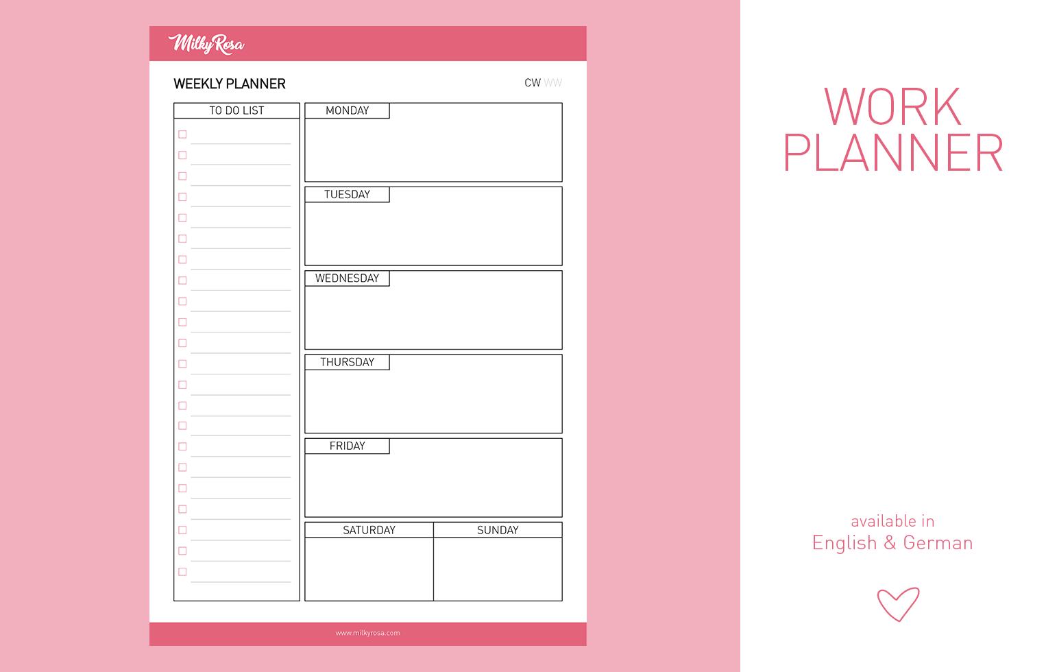 Work Planner - weekly
