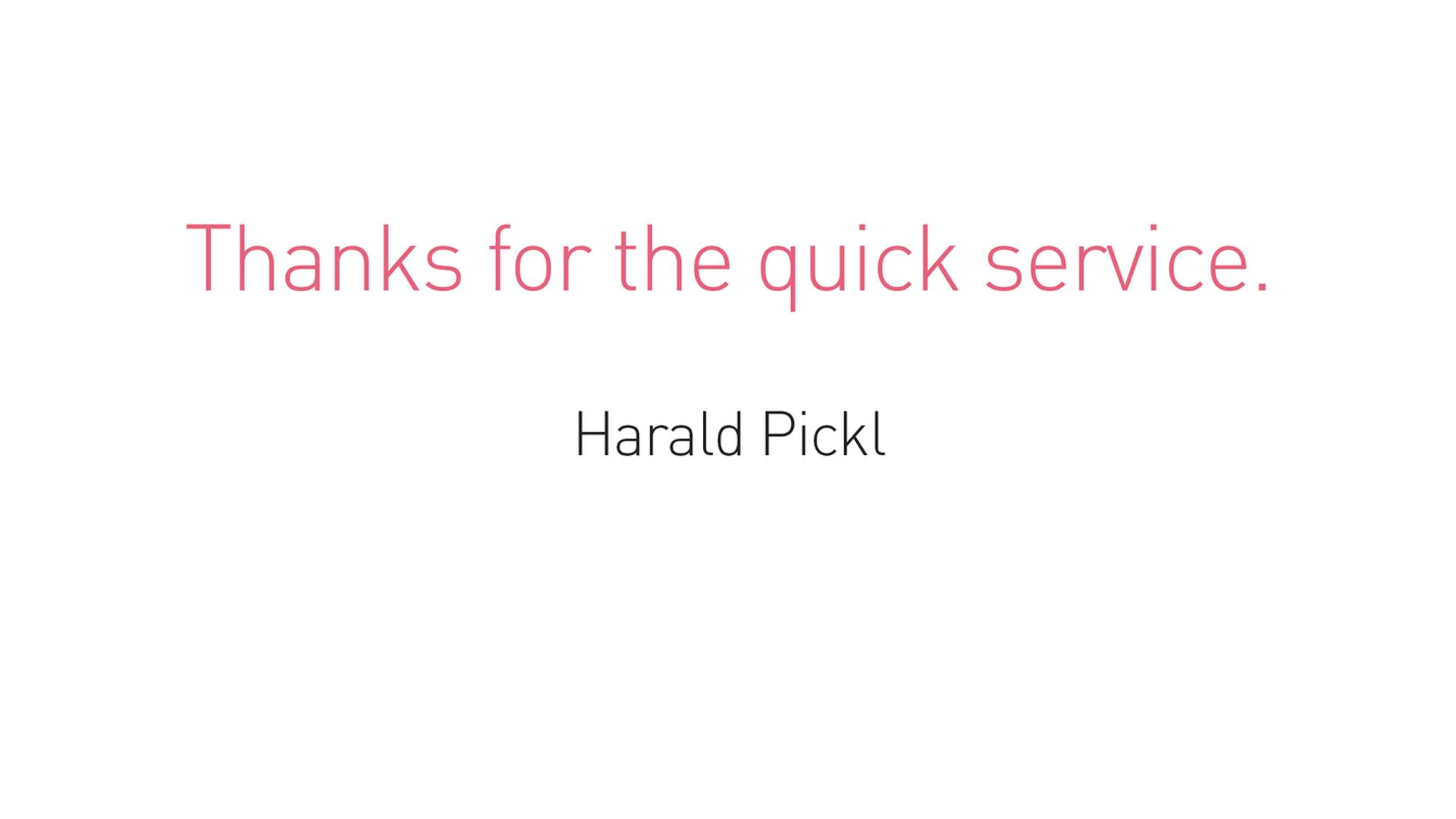 Testimonial - Harald Pickl