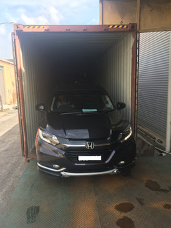 Vehicle loaded to container for shipping