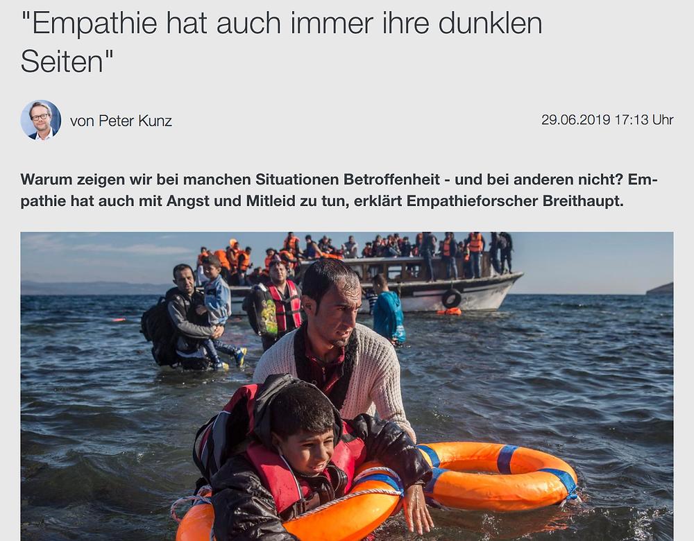 German Public TV station ZDF's Peter Kunz interviews Fritz Breithaupt about empathy