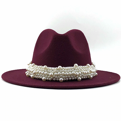 """On the Go"" Fedora Hat  trim with pearls"