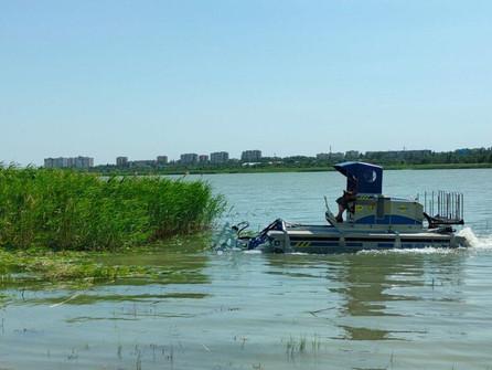 На Сухо-Соленовском заливе плавучий комбайн из Швеции приступил к покосу тростника