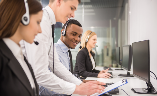 Call center employees with manager