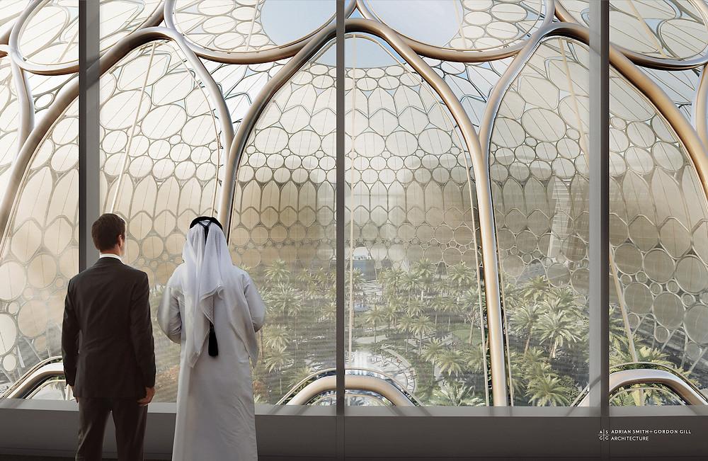 Vaade EXPO 2020 keskväljakul asuvast Al Wasl Plaza peahoonest. Autor: Arhitektuuribüroo Adrian Smith + Gordon Gill.