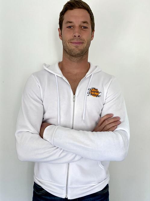 Sweat-shirt à capuche zippé logo sunset rétro