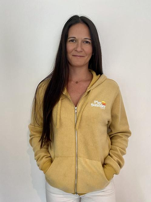 Sweat-shirt à capuche zippé peluche moutarde Unisexe
