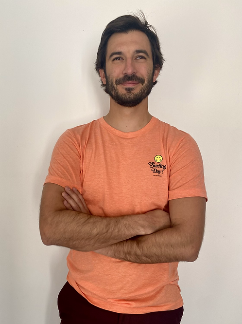Tee shirt orange triblend surfing day