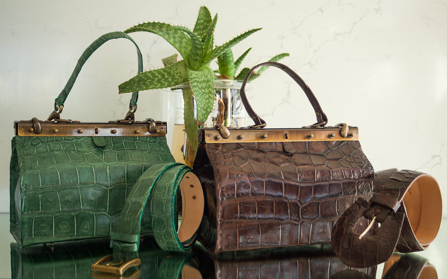 Green & Brown Alligator Beauty Tool Bags & Belts