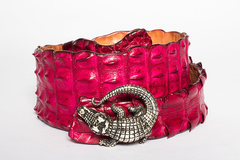 Pink Crocodile Belt with Sterling Silver Mina Wild Buckle