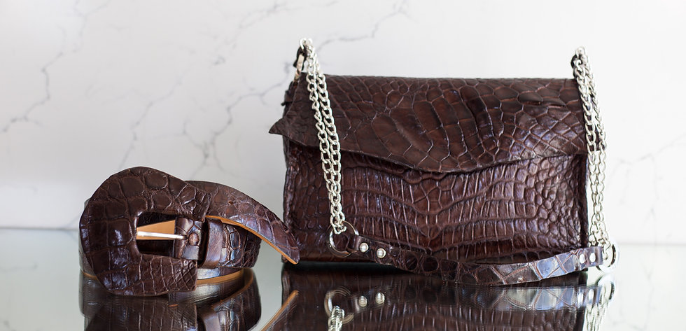Alligator Brown Bag & Matching Belt